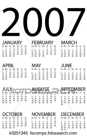 Stock Illustration of 2007 calendar k0251345 Search Clipart