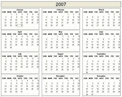 2007 year calendar Coles.thecolossus.co