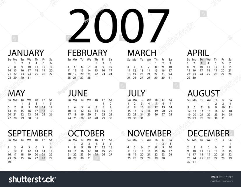 2007 Calendar Stock Illustration 1070247 Shutterstock