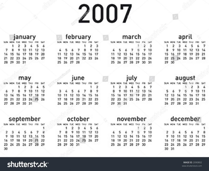 Simple 2007 Calendar Horizontal Layout Vector Stock Photo (Photo