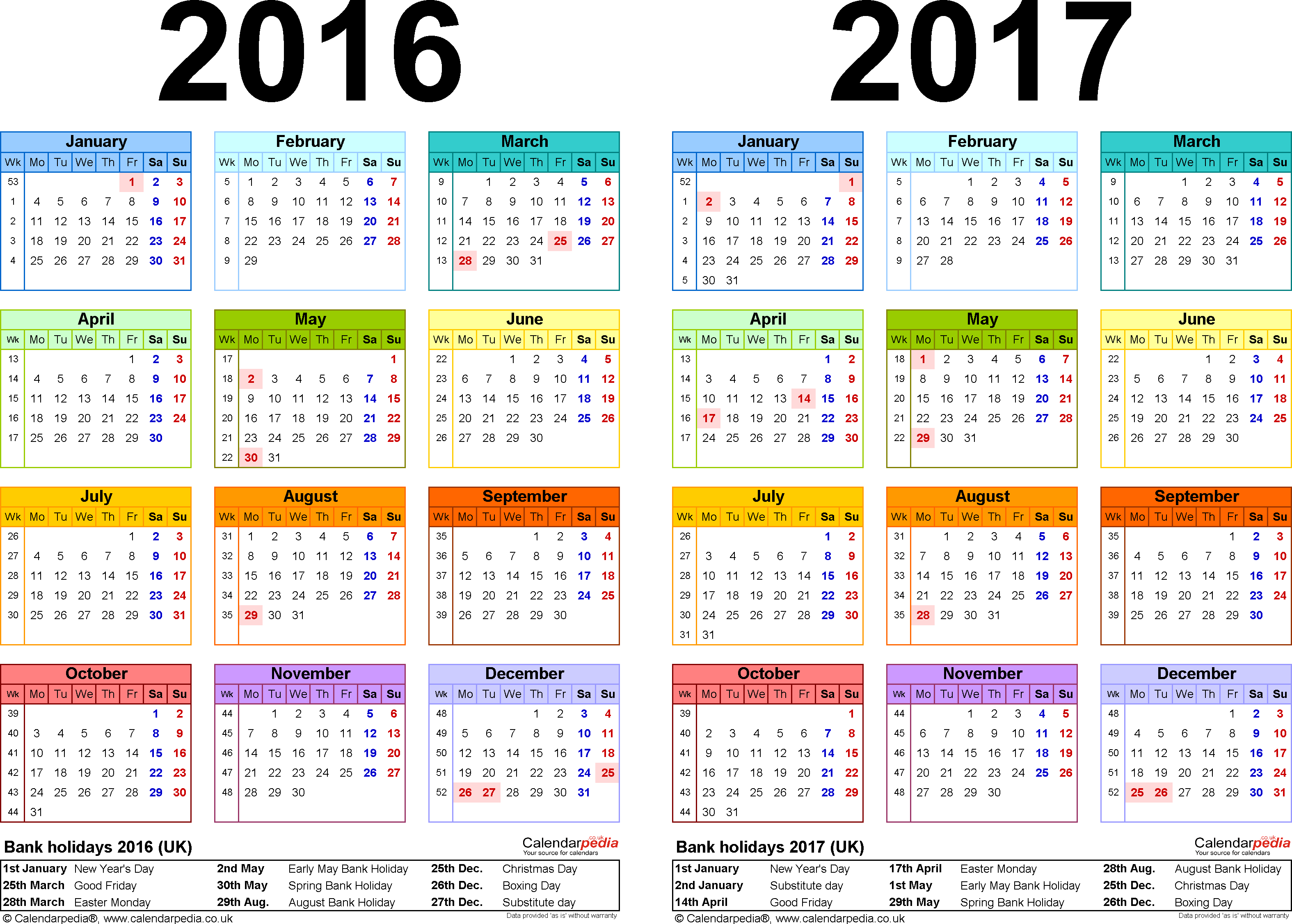 Two year calendars for 2016 & 2017 (UK) for PDF