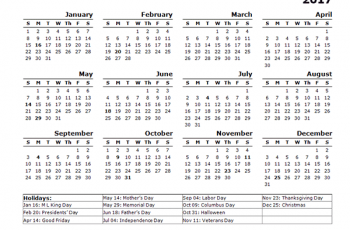 calandar year calendar template us holidays