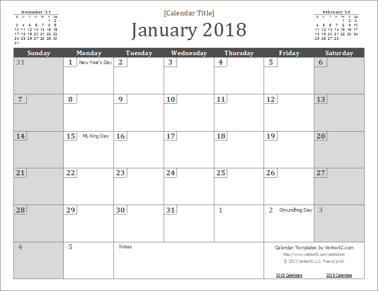 2018 Calendar Templates Download 2018 monthly & yearly templates