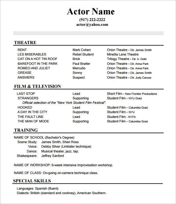 10+ Acting Resume Templates Free Samples, Examples, & Formats