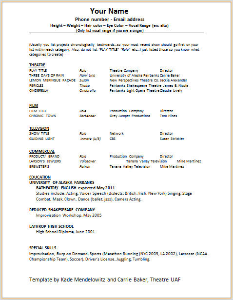 Acting Resume Template Build Your Own Resume Now