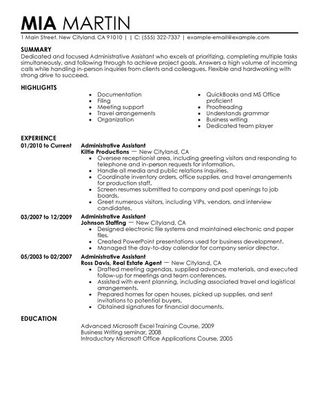 executive administrative assistant resume administrative assistant