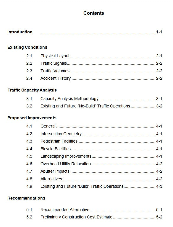 Example of table contents book efficient word foramt apa template