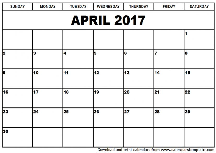 printable blank 2017 April Calendar Template docs