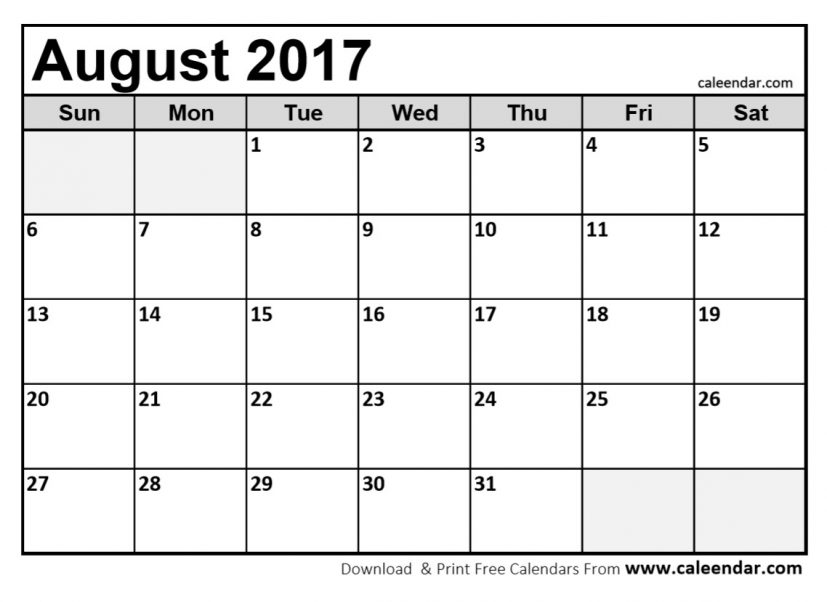 blank calendar august 2017 Coles.thecolossus.co