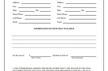 blank bill of sale general bill of sale form