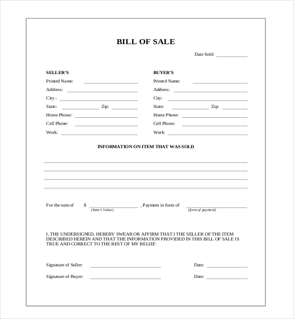 bill of sale blank form Ideal.vistalist.co