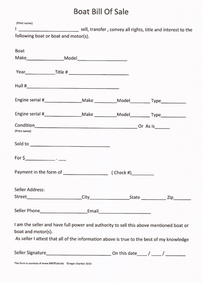 Create a Boat or Watercraft Bill of Sale Form | Legal Templates
