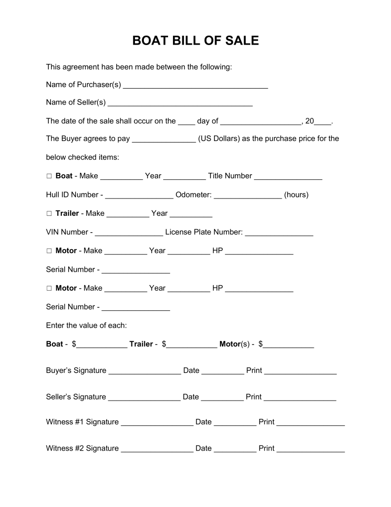 Free Boat (Vessel) Bill of Sale Form Word | PDF | eForms – Free