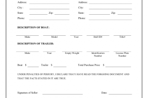 boat bill of sale boat trailer bill of sale form