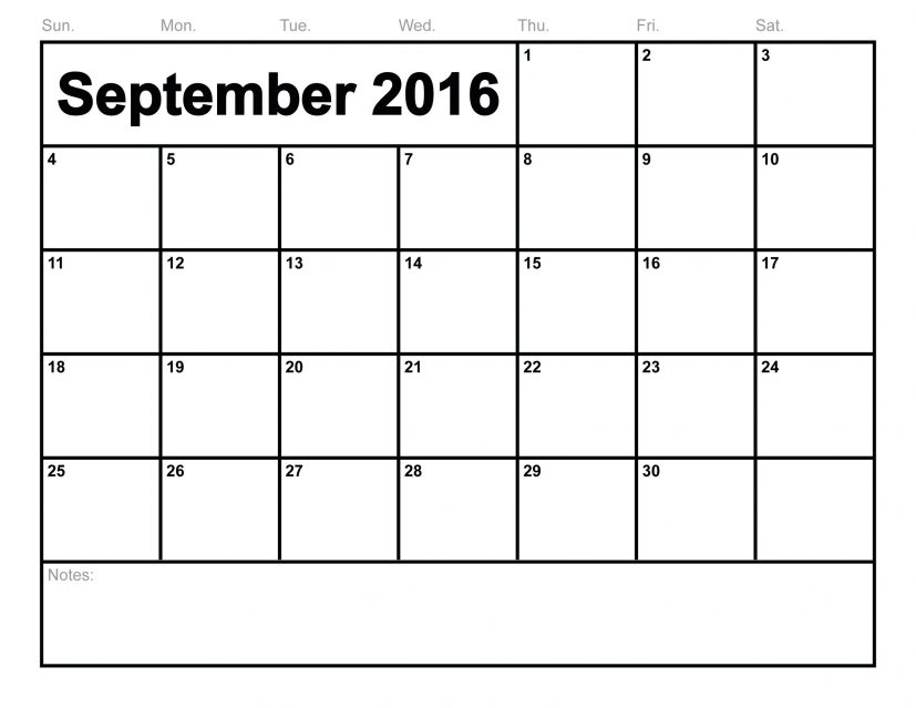 2016 September Printable Calendar Free, Blank Templates PDF