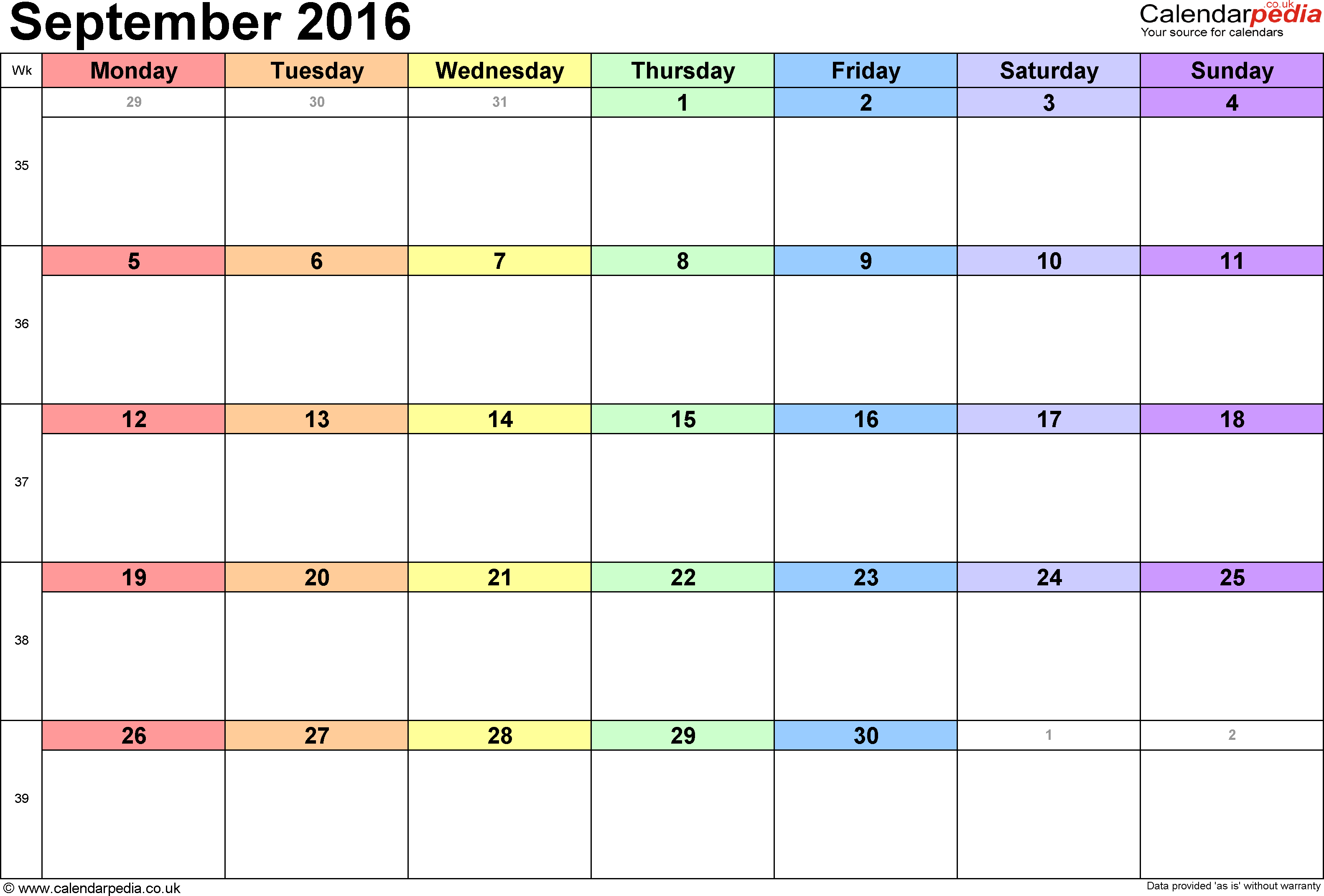 Calendar Planner September 2016 | Fotolip.Rich image and wallpaper