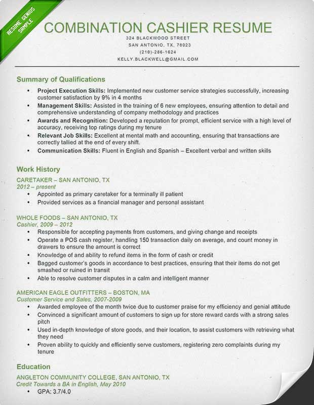 Cashier Resume Sample & Writing Guide | Resume Genius