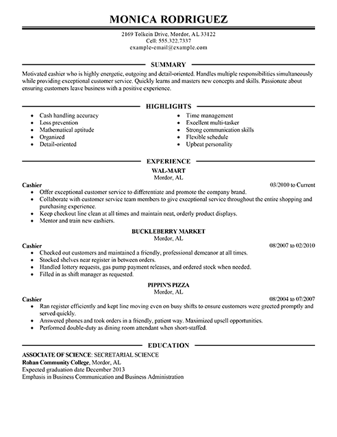 Best Sales Cashier Resume Example | LiveCareer