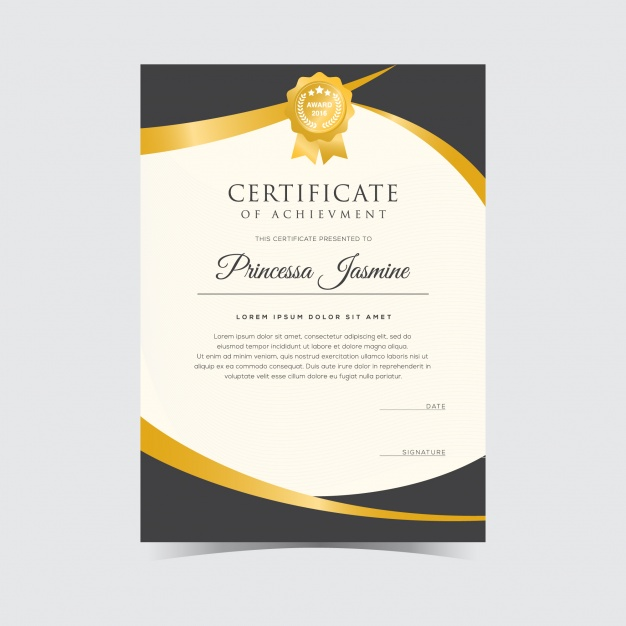 Golden certificate template Vector | Free Download