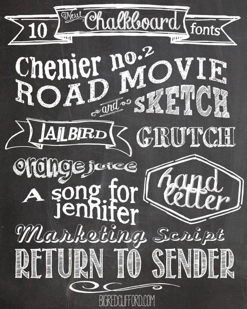 Free Chalkboard fonts and FREE printable | Color Me Meg