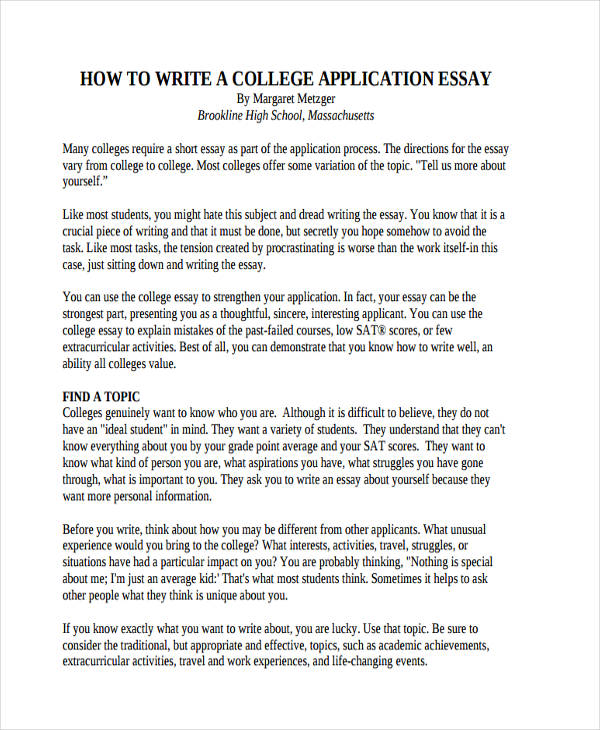 Writing a high school application essay