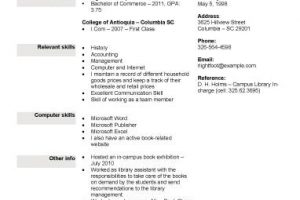 college resume book or retail store position