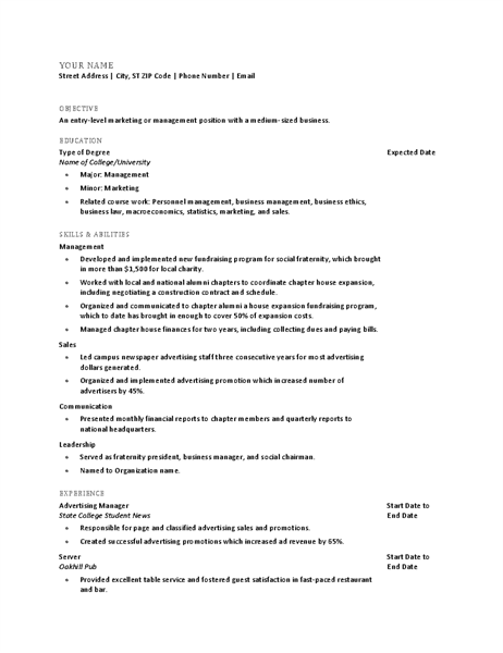 Resume for recent college graduate Office Templates