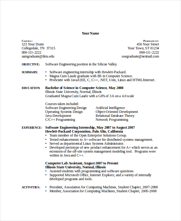 Computer Science Resume Template 7+ Free Word, PDF Document