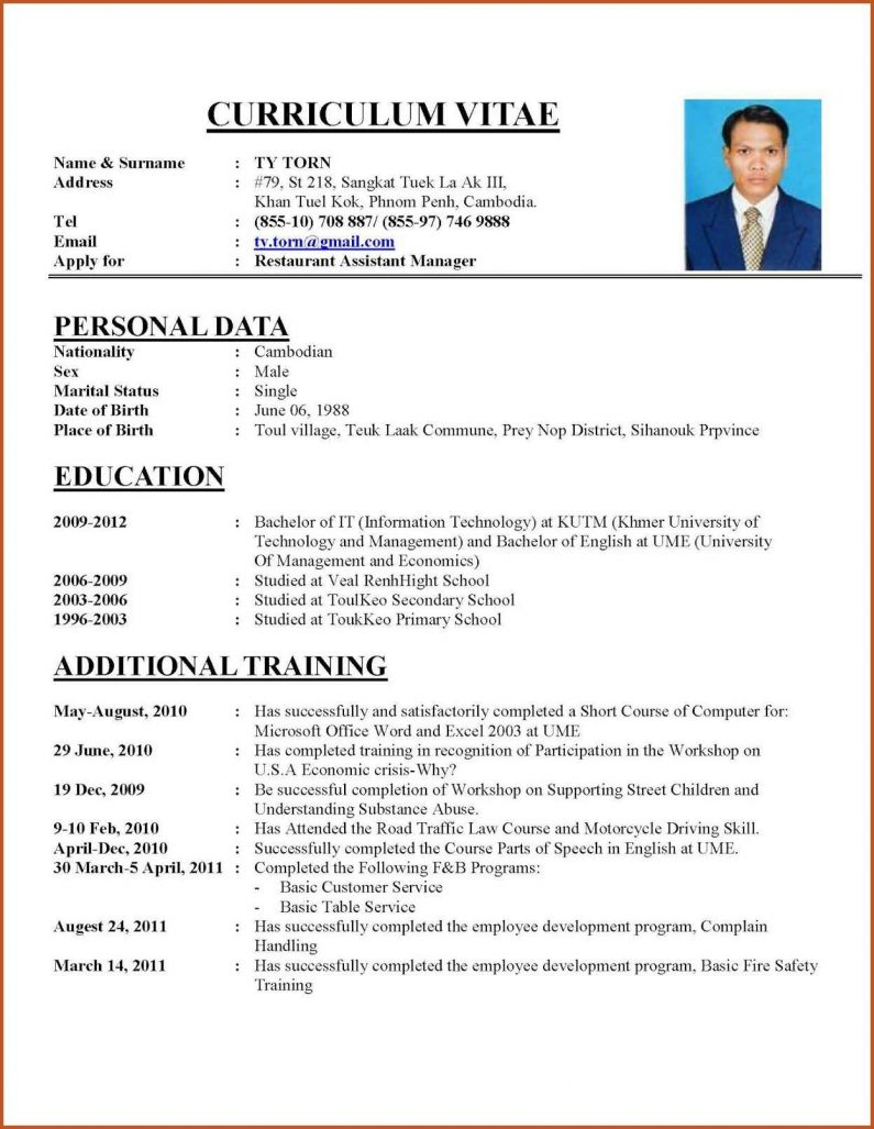 examples for curriculum vitae Baskan.idai.co