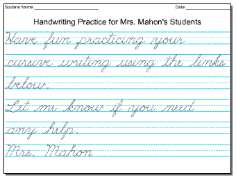 Cursive Practice Welcome!