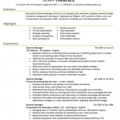 cv examples thumb management role cv