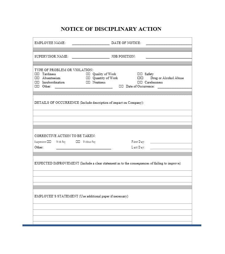40 Employee Disciplinary Action Forms Template Lab