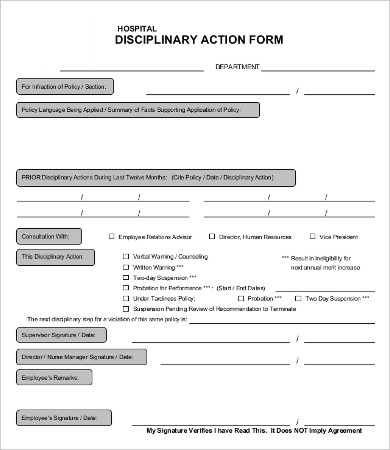 Disciplinary Action Form 20+ Free Word, PDF Documents Download