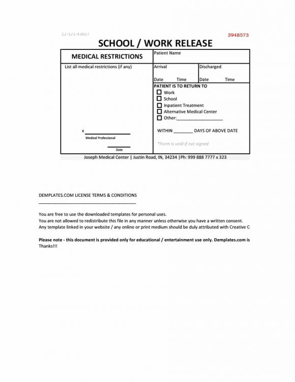 42 Fake Doctor's Note Templates for School & Work Printable
