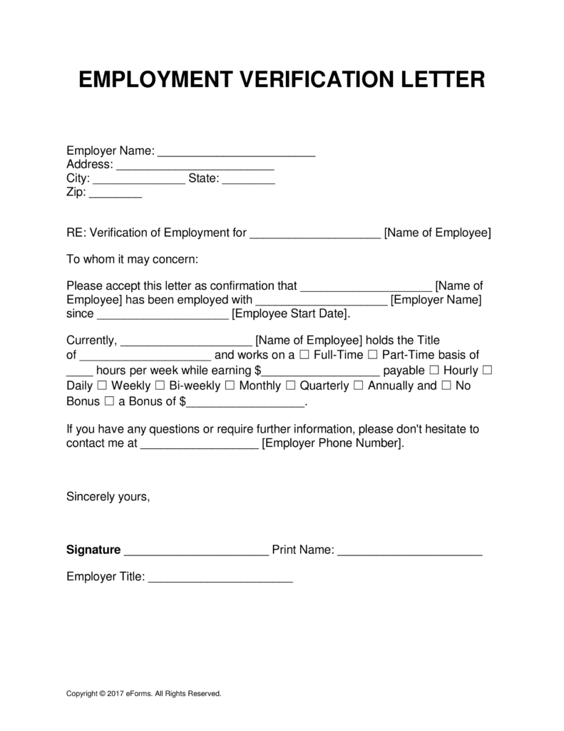 Employment Verification Letter 8 Free Pdf Documents Download