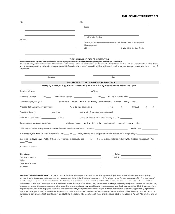 Form Employment Verification Request Form Template Free Download