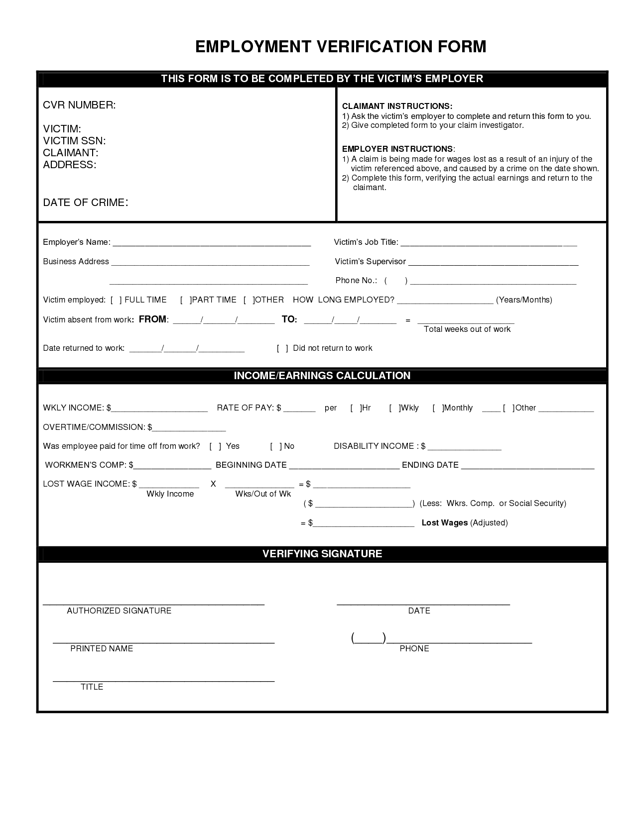 Employment Verification Form Fill Online, Printable, Fillable