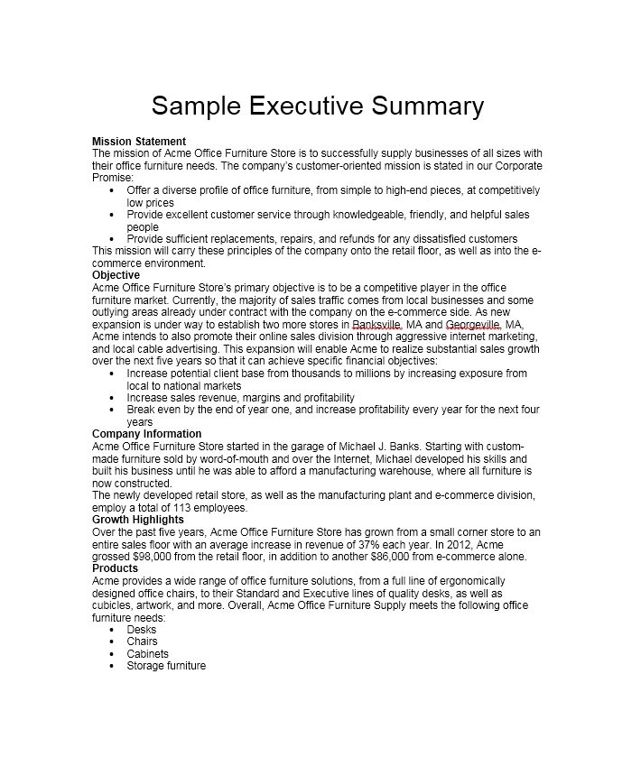 sample summary paper executive summary sample pdf word documents