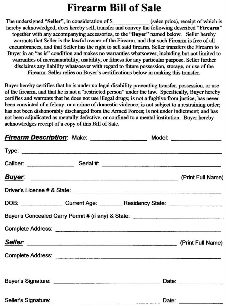 Free Firearm (Gun) Bill of Sale Form PDF | Word | eForms – Free