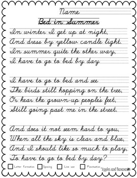 Cursive Copywork Poetry Handwriting Practice by Apples and