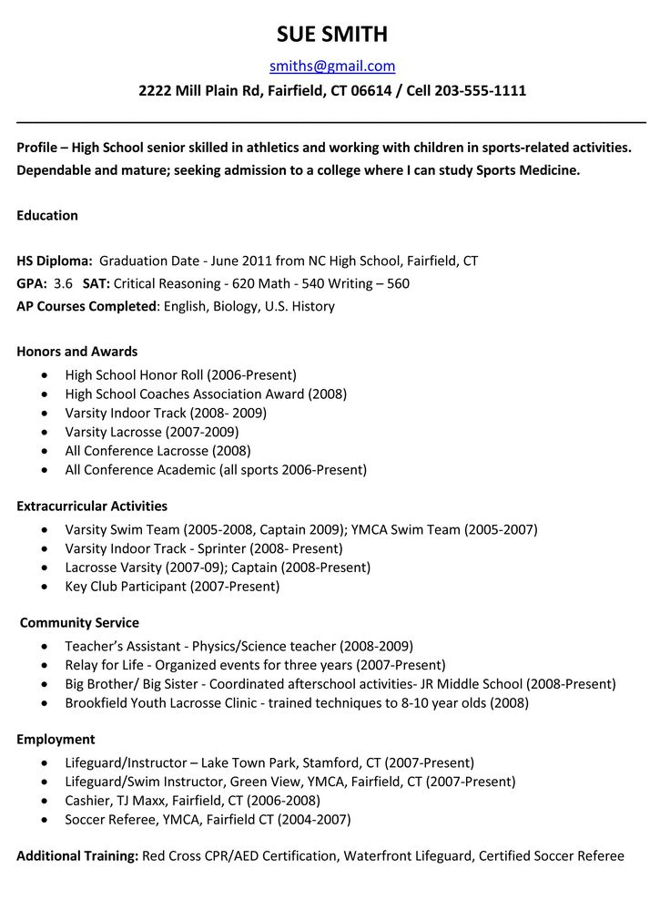 High School Student Resume Template For College Best 25 High