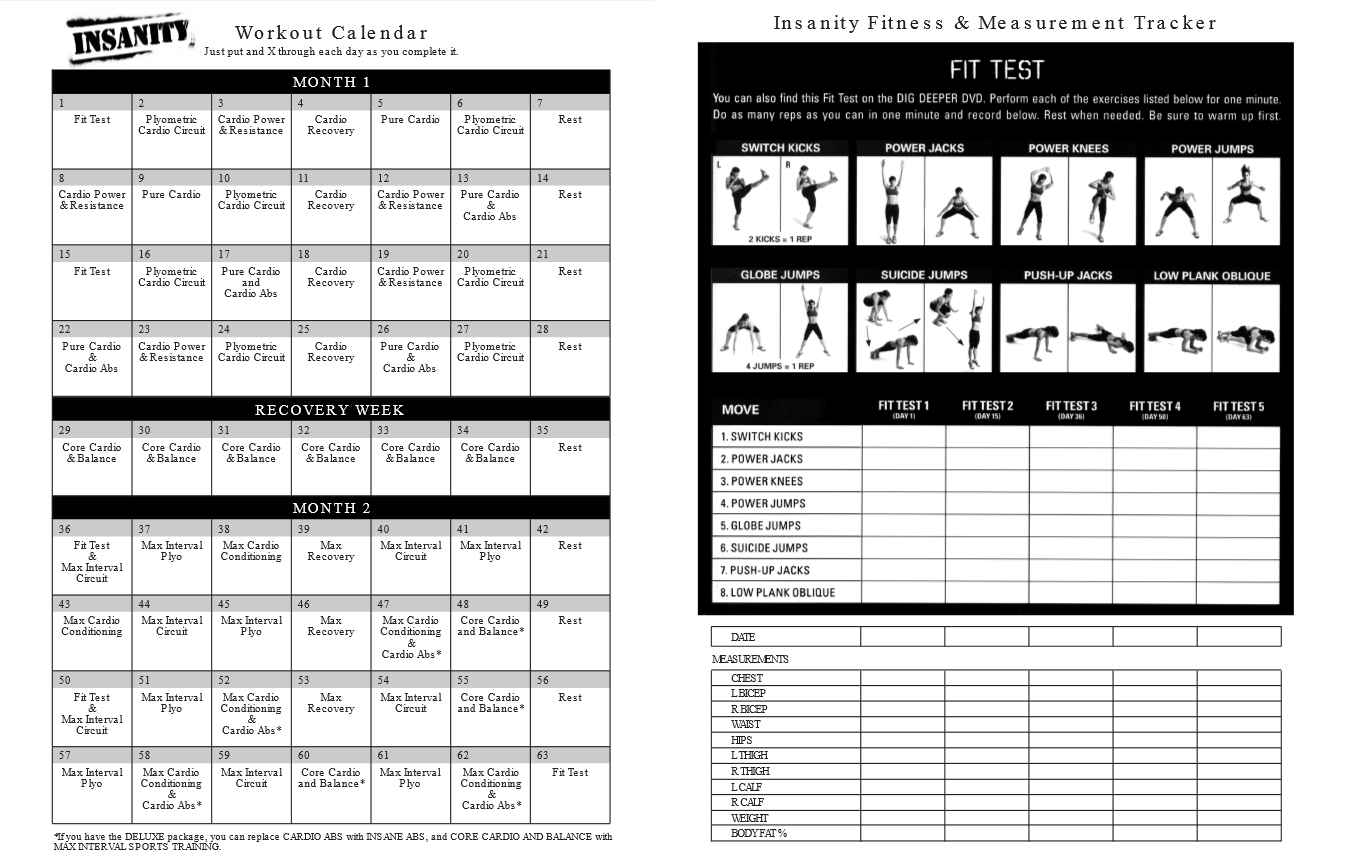 Insanity Workout Calendar | monthly calendar template