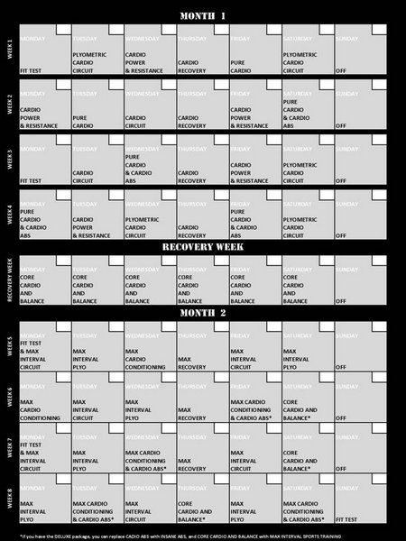 Insanity Workout Schedule | Shaun T Insanity Workout | The