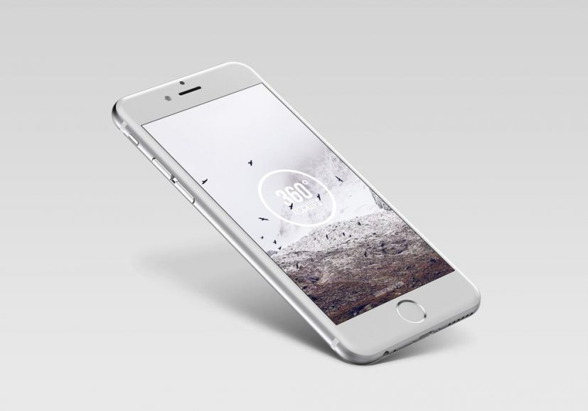 Floating silver iPhone Mockup | MockupWorld