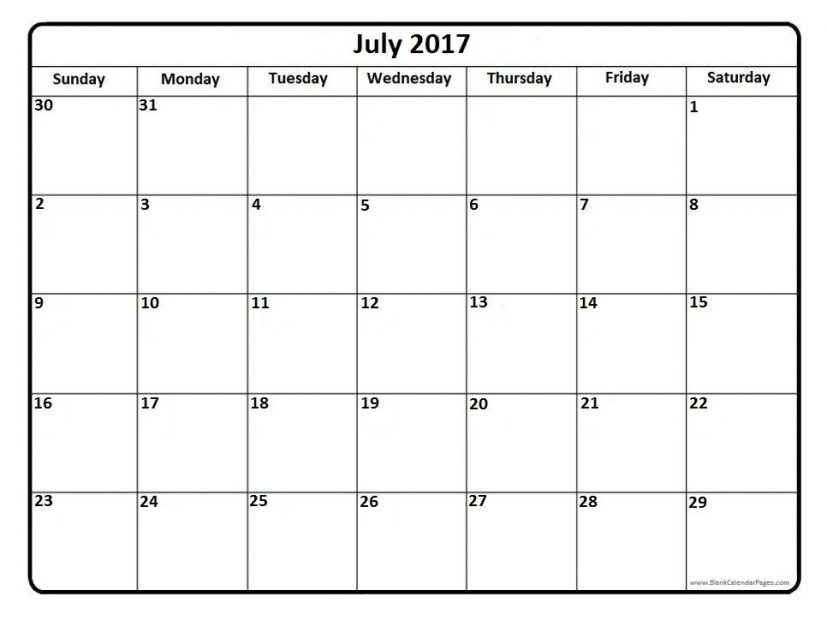 July 2017 printable calendar page | It Works | Pinterest