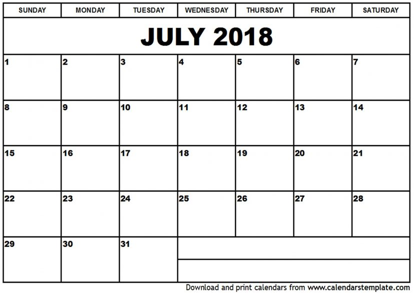 July 2016 Calendars for Word, Excel & PDF