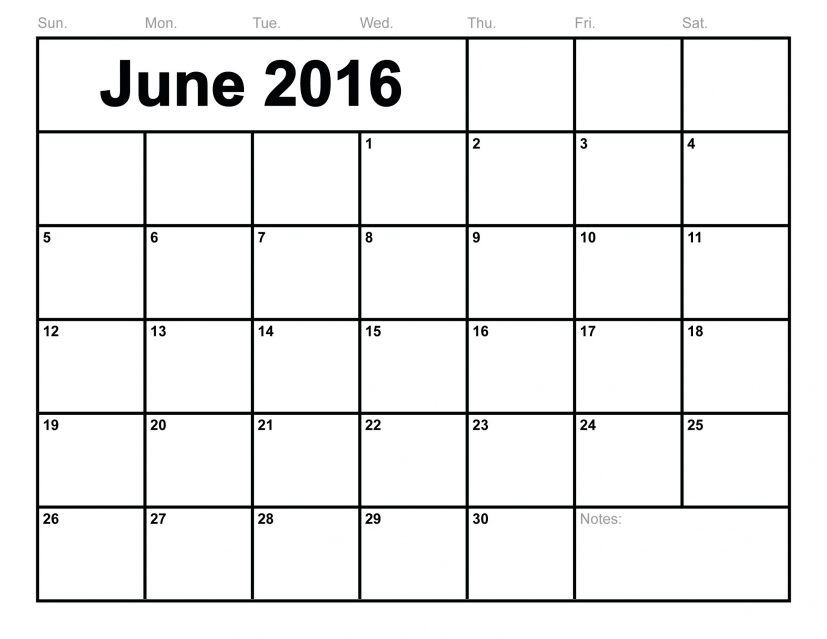 June 2016 Calendar Printable Monthly Blank Calendar 2016 Template