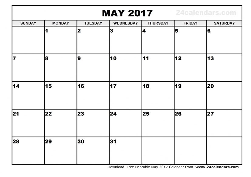 May 2017 calendar template Free printable calendar.com