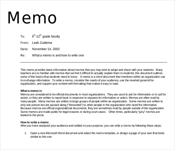 Memo Writing Format Example Oklmindsproutco Memorandums Examples