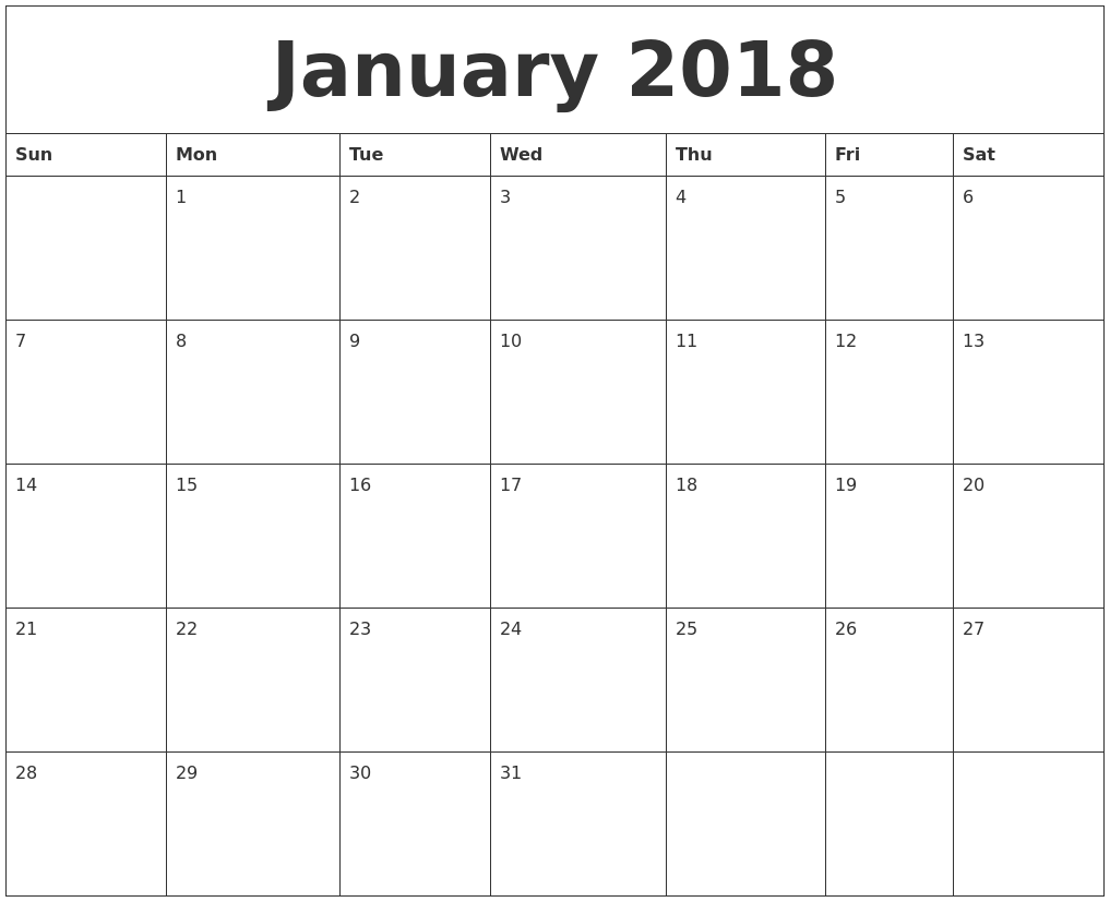 2018 Monthly Calendar PDF Free Printable Templates
